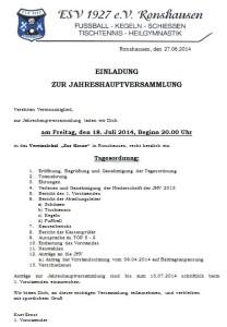 Einladung JHV 2014