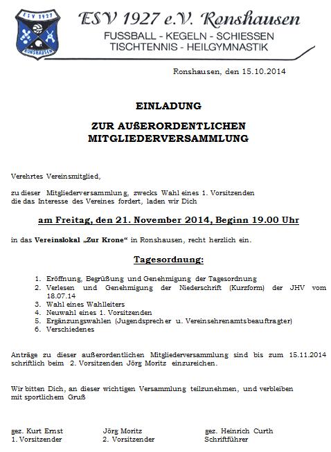 außerordentliche mitgliederversammlung « esv 1927 e.v. ronshausen, Einladung