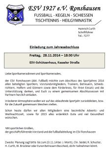 Einladung Jahresabschlussfeier 2014